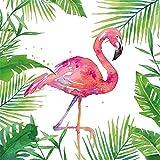 Servietten Natur Tischdeko Flamingo 20 Stück 3-lagig 33x33cm