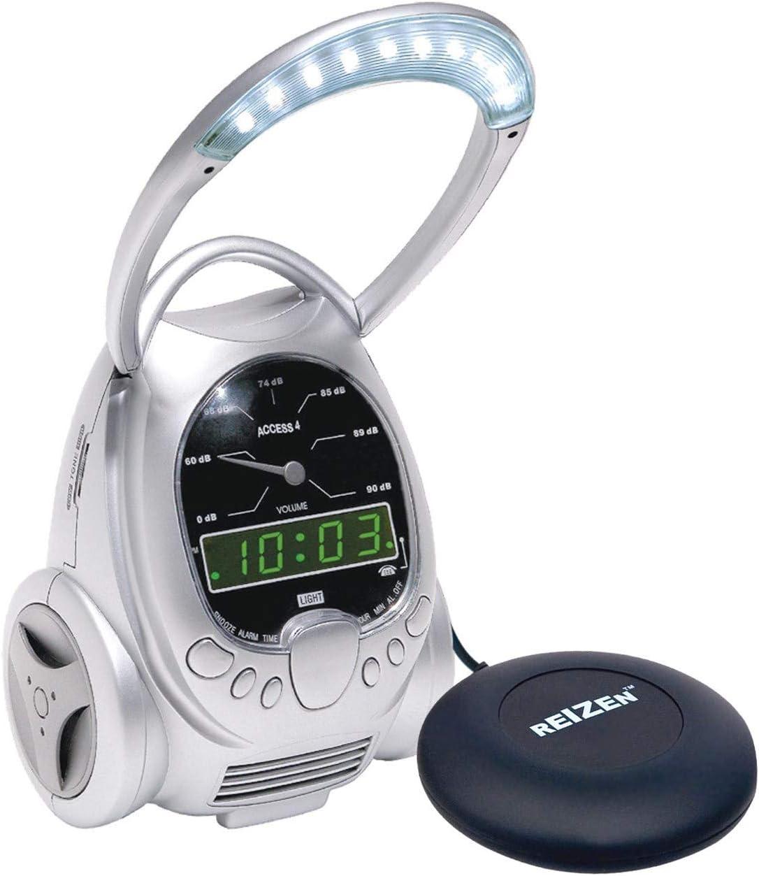2-in-1 Combo Access 4 Alarm Clock with Vibrating Reizen Bedshaker