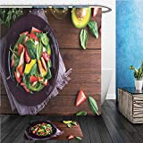 monkey chicken penguin - Beshowereb Bath Suit: ShowerCurtian & Doormat healthy salad plate with avocado strawberry chicken and spinach on wooden background top view 573139807