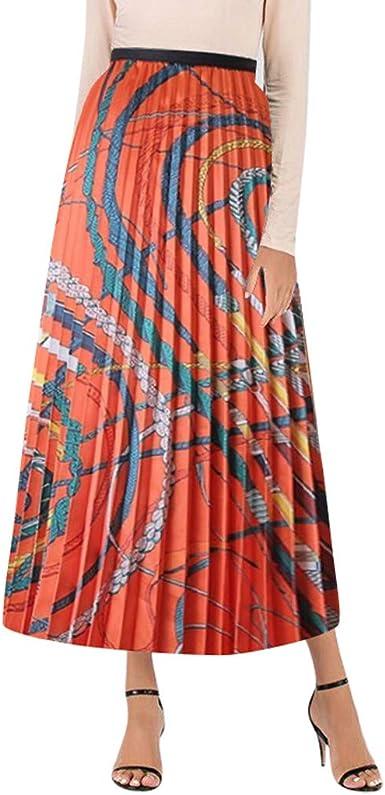 Conquro-falda Plisada Estampada de Mujer Casual de la Cintura Alta ...