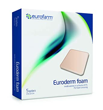 Euroderm Foam(cm 15 x cm 15) Apósito de Espuma de Poliuretano Altamente Absorbente con Area Hydro Activa Completa, Paquete de 5 Unidades: Amazon.es: Salud y cuidado personal