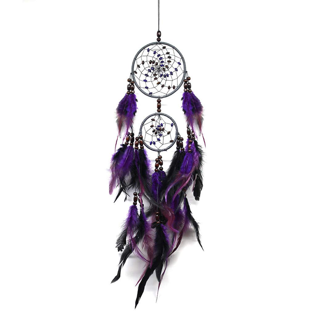 Glumes Feather Hanging Decor, Dream Catcher Feather Dreamcatchers Wall Hanging Ornaments for Bedroom Home Festival for Girl (Purple)