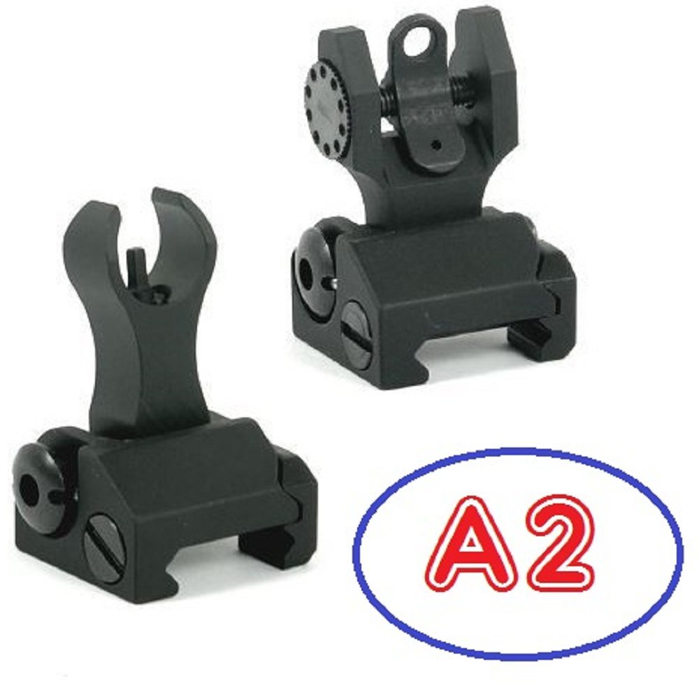 Iron Sights ( HK-A2 ) Tactical Rapid Transition Front & Rear Flip Up Backup Iron Battle Sights Set by Green Blob Outdoors by Green Blob Outdoors (Image #1)