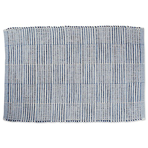 DII Contemporary Reversible Indoor Area Rag Rug, Machine Washable, Handmade from Recycled Yarn, Unique For Bedroom, Living Room, Kitchen, Nursery and more, 2 x 3' - Blue Checkers (Color may vary)