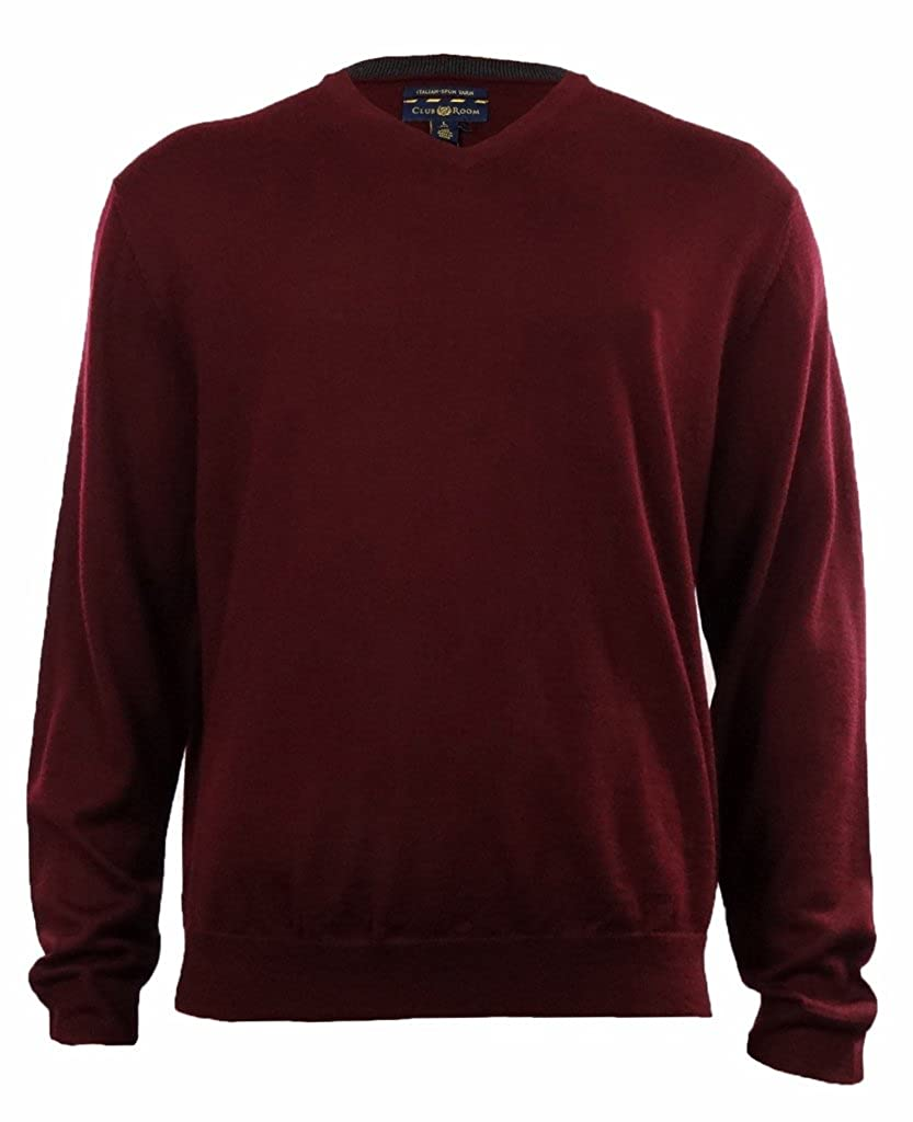 Club Room Men's Merino Wool Blend V-Neck Sweater at Amazon Men's ...
