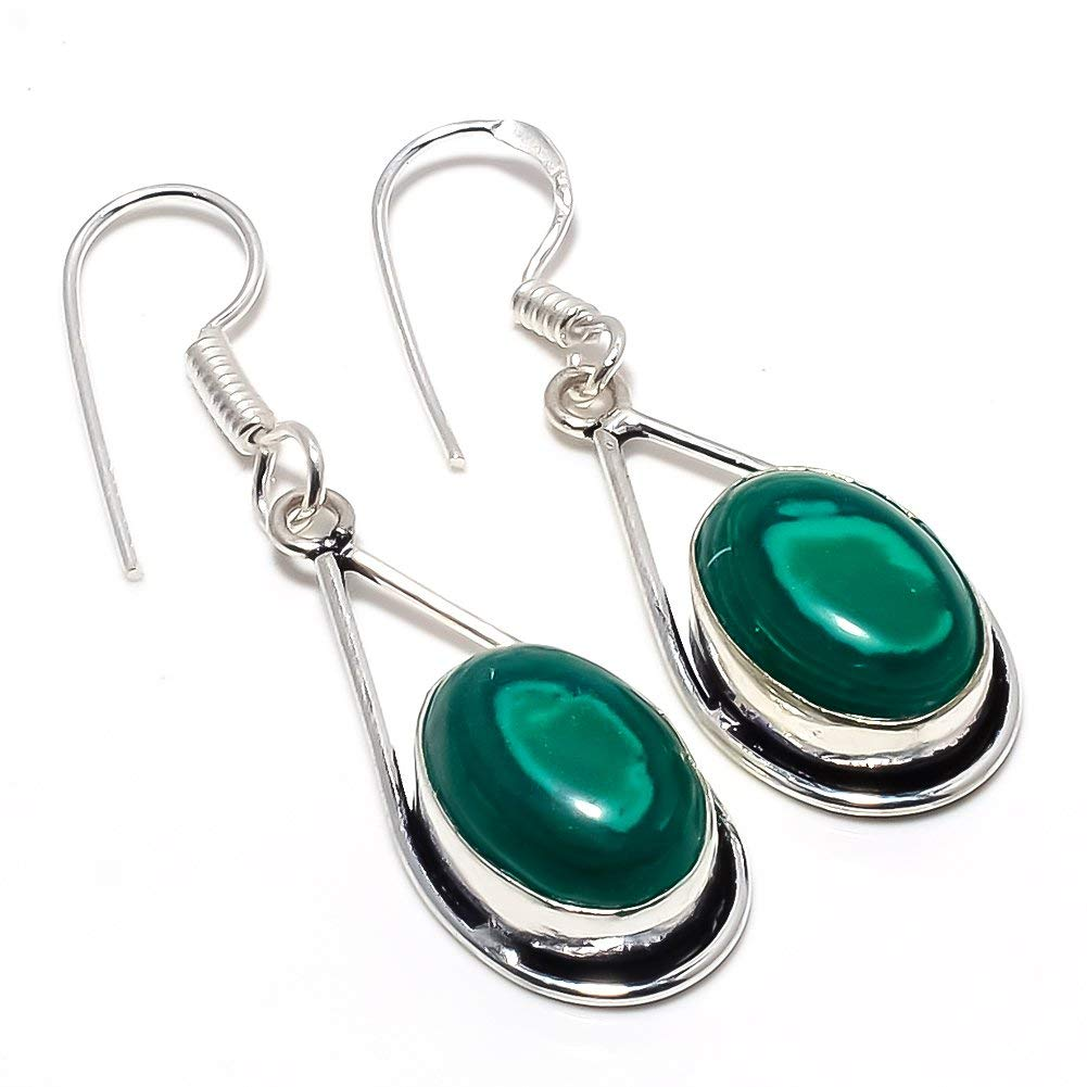 Green Malachite Silver Plated 8 Grams Earring 1.75 Long Outstanding Handmade Jewellry