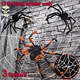 Halloween Decorations Party Favors Supplies 12FT Super Stretch Spider Webs with 3 Large Plush Spiders for Outdoor Indoor Yard Garden Haunted House College Haunted Bar Office Great Value Set White web
