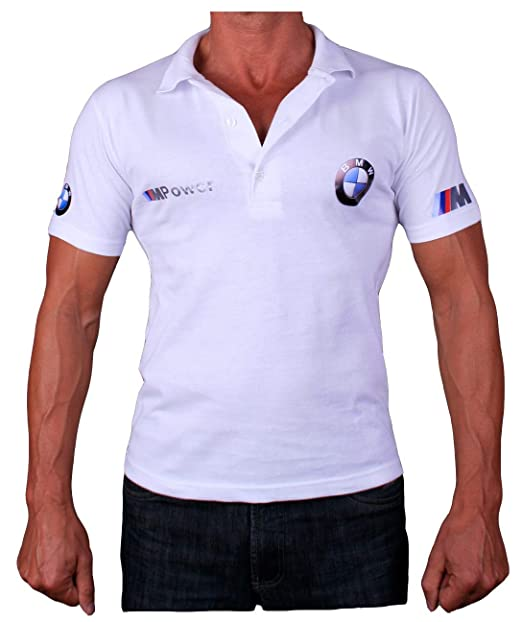 486c3cf7 BMW M Power Collar Polo Logotipo Etiqueta Pegatinas de la Camiseta Logo Blanco  Polo de Deporte Algodón: Amazon.es: Ropa y accesorios