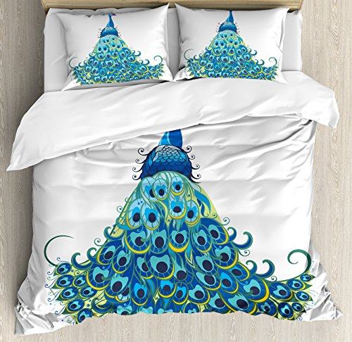 Peacock Decor Queen Size Duvet Cover Set by Ambesonne, Peacock Illustration Floral Classical Curvy Artful Design Tropics Wildlife Theme, Decorative 3 Piece Bedding Set with 2 Pillow Shams,