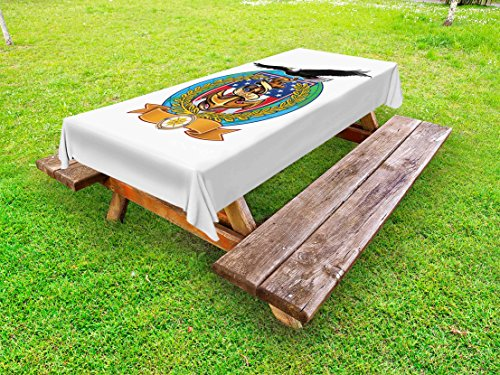 Lunarable US Navy Outdoor Tablecloth, Flying Bald Eagle with an Anchor and a Windrose Symbol of Freedom United States, Decorative Washable Picnic Table Cloth, 58 X 84 inches, Multicolor
