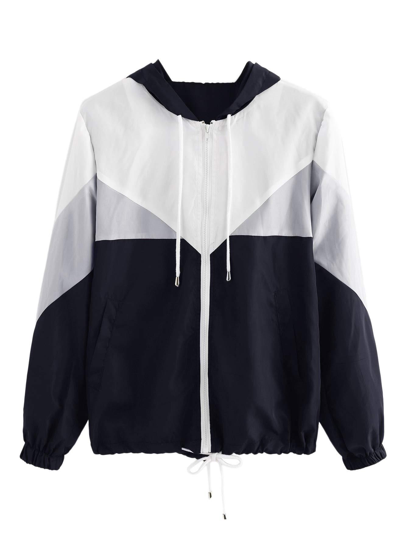 eef01089dd1 Galleon - Milumia Women s Color Block Drawstring Hooded Zip Up Sports Jacket  Windproof Windbreaker Large Multicolor-8