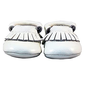 Amazon.com : Andu-Baby Leather baby Moccasins Shoes - White (Infant, Toddler, Kids) (6.5 M US Toddler -13.5 cm) : Baby