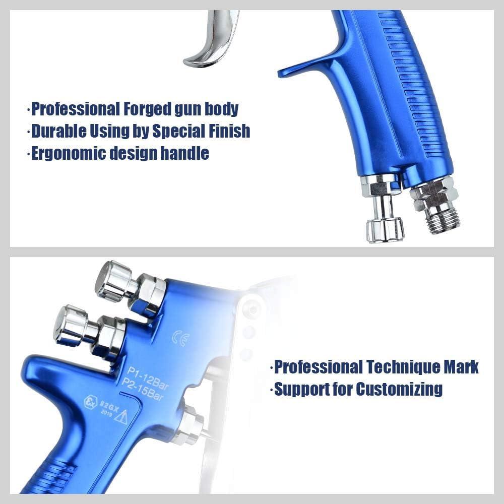 ETE ETMATE HVLP Lackierpistole f/ür die Lackiersteuerung 1,3 mm Schwerkraft-Lackierpistole mit 600-ml-Plastikbecher