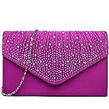 Miss Lulu Ladies Diamante Clutch Evening Bridal Wedding Bag Handbag (Purple)