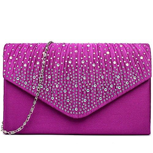 Bag Ladies Wedding Clutch Handbag Diamante Lulu Bridal Purple Evening Miss Uqv0wn