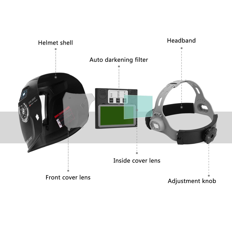 DEKOPRO Solar Powered Welding Helmet Auto Darkening Hood with Adjustable Wide Shade Range 4/9-13 for Mig Tig Arc Welder Mask by DEKOPRO (Image #2)
