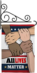 All Lives Matter Garden Flag Set Wall Holder Support Cause BLM Anti Racism Revolution Movement Equality Social House Decoration Banner Small Yard Gift Double-Sided, 13