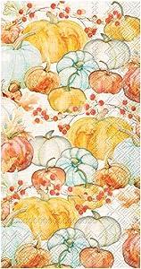 Boston International Paper Hand Towels for Bathroom Guest Towels Disposable, Fall Decor Paper Napkins Decorative Watercolor Pumpkin Decor Pak 32