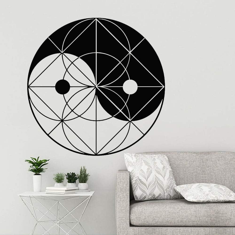 wukongsun Adhesivos de Pared geométricos Yin Yang Yuan Zen vinilos artísticos Sala de Estar Dormitorio mesita de Noche Decorativos Adhesivos de Pared 75.6cmx75.6cm: Amazon.es: Hogar