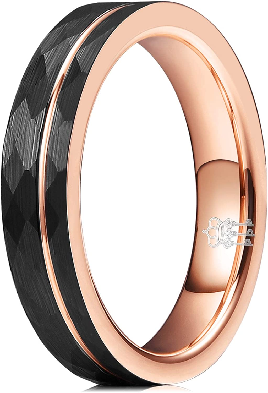 Rose Gold Tungsten Ring Black Rose Gold Wedding Band 8mm Tungsten Carbide Mens Wedding Band Engagement Ring For Men Hammered Wedding Band