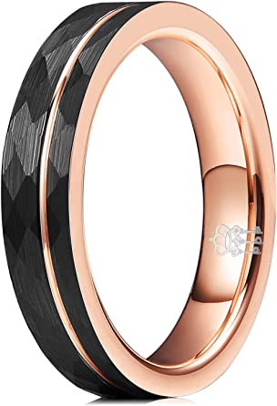 Three Keys Jewelry Rose Gold Tungsten Wedding Ring Imitated Meteorite Inlay Bands for Men Women 4mm 8mm 6mm