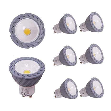 Greenfrog Pack de 6 Bombillas LED GU10, 6W COB LED Equivalente a 50W Lámpara Incandescente