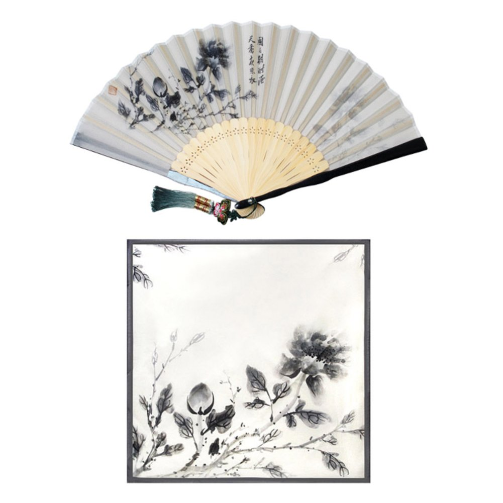 Korean Traditional Silk Hand Fan w/ Norigae+ Handkerchief Set Gift Box Special Gift (Gray) by Unknown