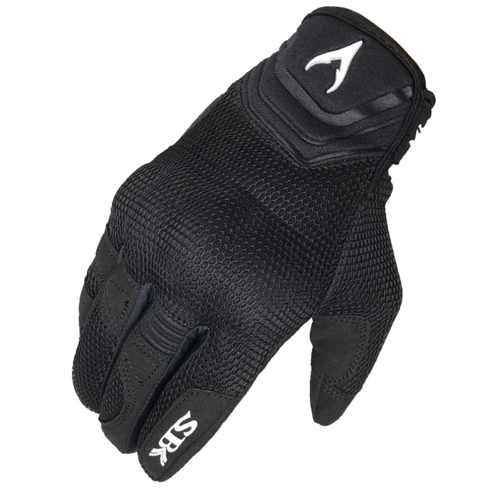 AINIYF Full Finger Motorcycle Gloves| Summer Men's Cavalier Breathable Drops Sports Gloves Cycling Locomotive Touch Screen Racing Fall (Color : Black, Size : S)