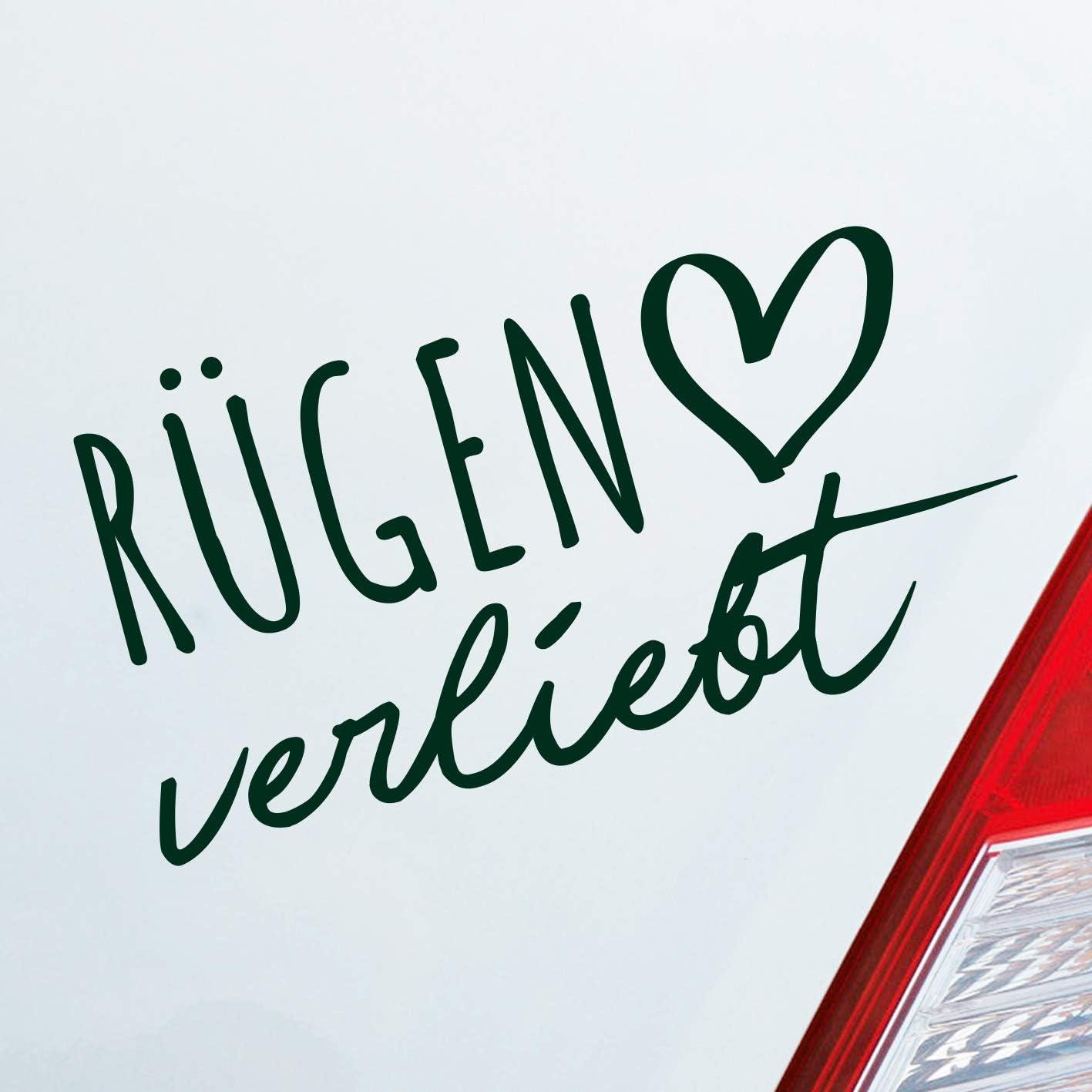 Hellweg Druckerei Auto Aufkleber Rügen Verliebt Herz Insel Ostsee Liebe Car Sticker Dunkelgrün Auto