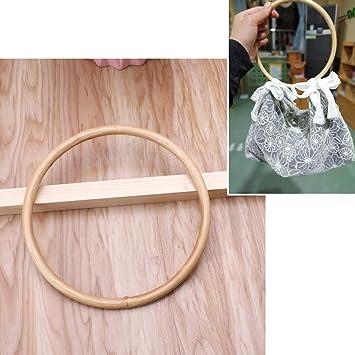 Cuigu Mango de Bolsillo, Mango Redondo de bambú para Bolso, DIY Hecho a Mano, Accesorios para Bolso, Colgador para Bolsa de la Compra, 15 x 15 cm