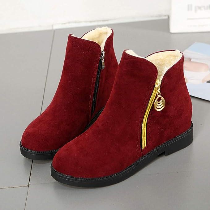 Viernes Negro JiaMeng Zapatos Planos Botas de Lona Botas de Gamuza con Cremallera Punta Redonda Mantener los Zapatos Calientes Invierno Calentar Botas: ...