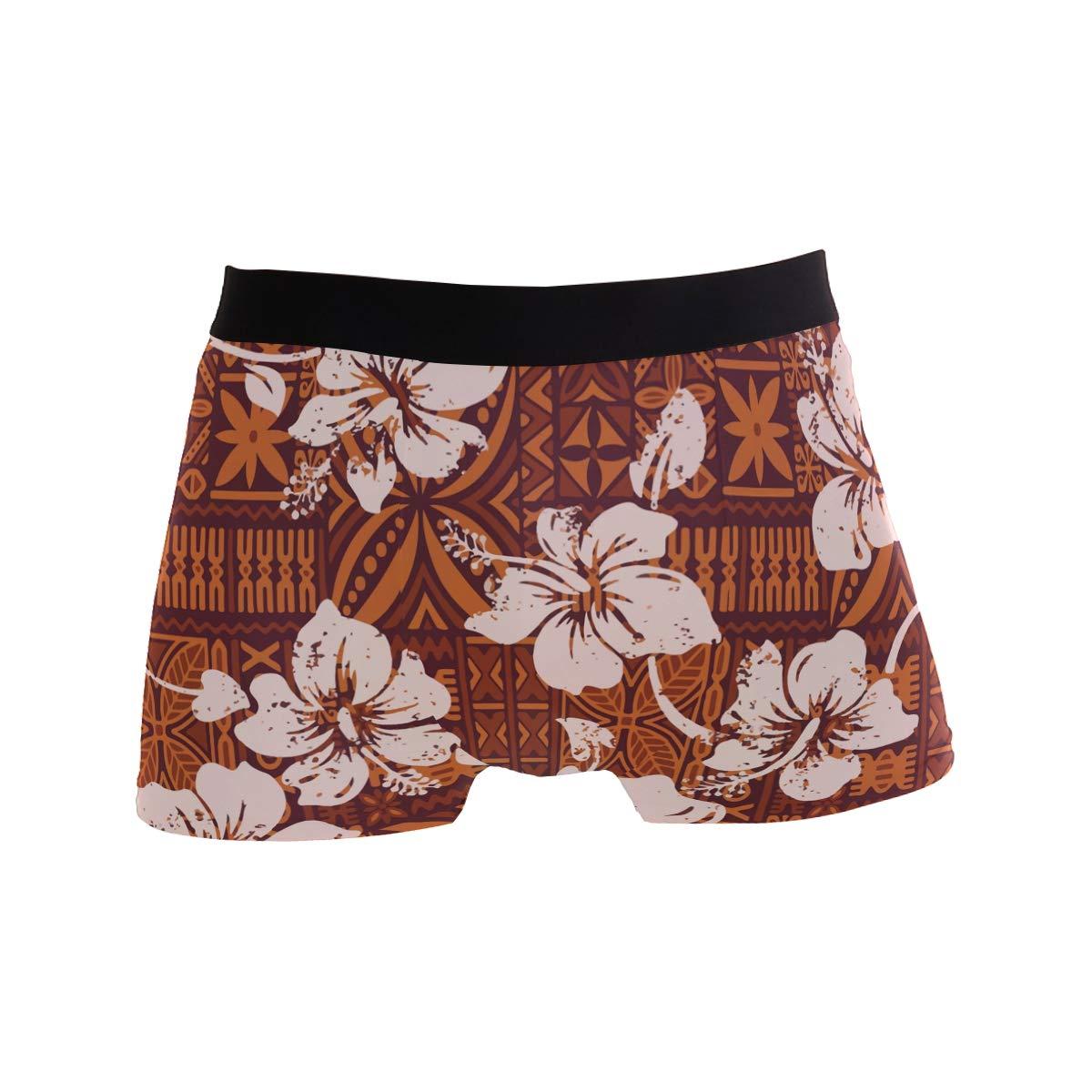 Mens Soft Breathable Vintage Hawaiian Hibiscus Flowers Underwear Boxer Briefs