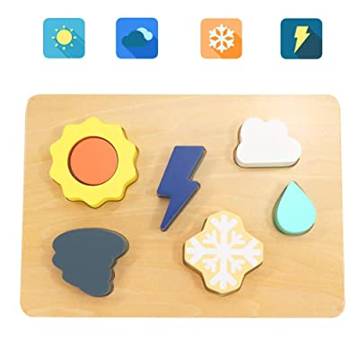 Scootive 7 pcs Wooden Weather Shape Sorter Block with Bright Color Sorting Toys Educational Preschool Learing Toys Peg Puzzle: Toys & Games