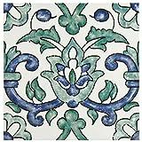 SomerTile WAEBOUGA Loire Ceramic Wall Tile, 7.875'' x 7.875'', White/Green/Blue