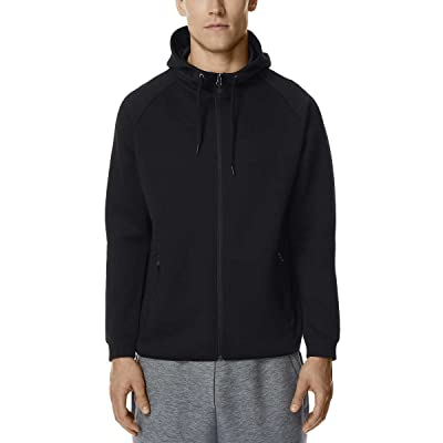 32 Degrees Men's Tech Fleece Full Zip Hoodie (Black, 2XL): Clothing