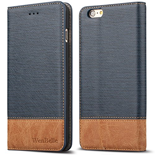 "iPhone 6/6s 4.7"" Case,WenBelle Blazers Series,Stand Feature,Double Layer Shock Absorbing Premium Soft PU Color matching Leather Wallet Cover Flip Cases For apple iPhone 6 6s 4.7 inch Classic Blue"