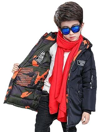 f279a3ce32f74 GuDeKe 男の子 綿服アウター ボーイズ ダウンジャケット ロング 迷彩柄 中綿コート キッズ ダウンコート