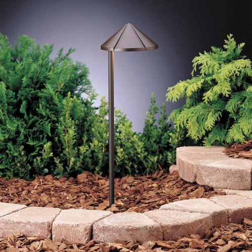 15315AZT6 Side Mount 1LT Incandescent/LED Hybrid LV Landscape Path & Spread Lights, Textured Architectural Bronze Finish (6-Pack) by Kichler