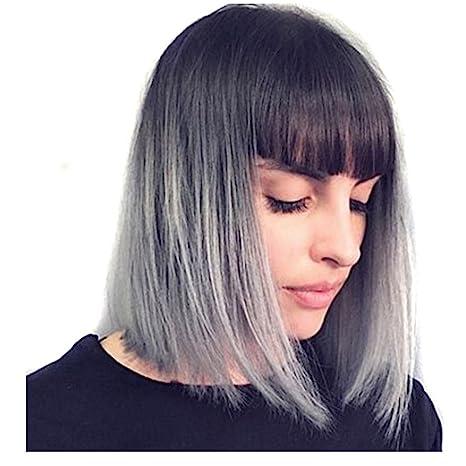 Royalfirst Peluca de peluca de color gris Ombre – Peluca corta negra a gris, resistente