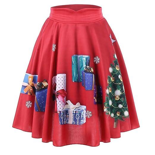 ab2db7b7d31ac Amazon.com: BODOAO Christmas Skirt Women Casual Santa Flare High ...