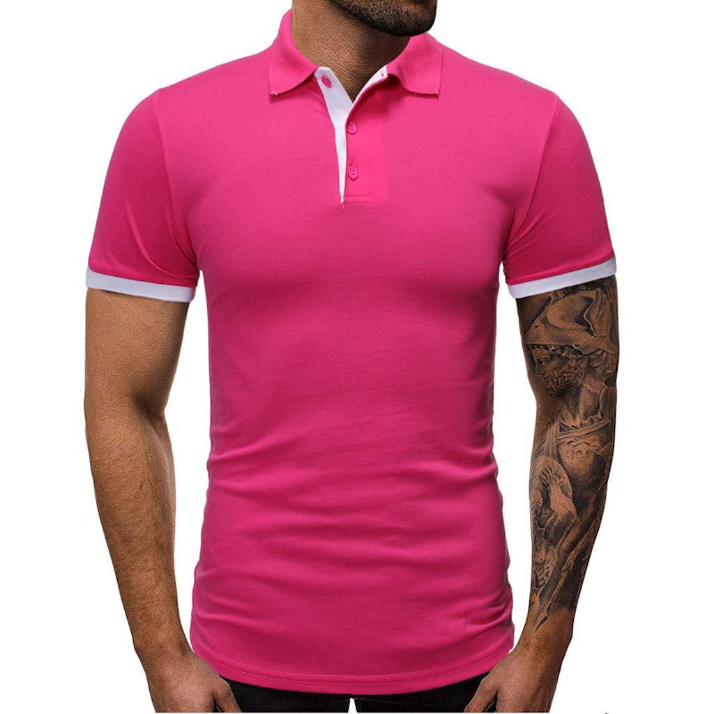 Xesvk Men's Polo Shirts Fashion Casual Slim Fit Short Sleeve T-Shirts Cotton Shirts Top Blouse