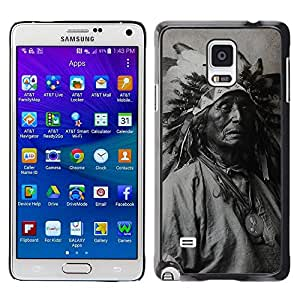 Design for Girls Plastic Cover Case FOR Samsung Galaxy Note 4 Indian Photograph Feathers Old Man Native OBBA