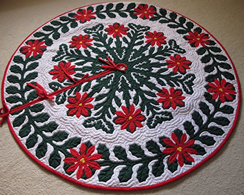 Hawaiian Quilt 100% Hand Quilted and 100% Hand Appliqued Christmas Tree Skirt 60'' by Hawaiian Quilt Wholesale