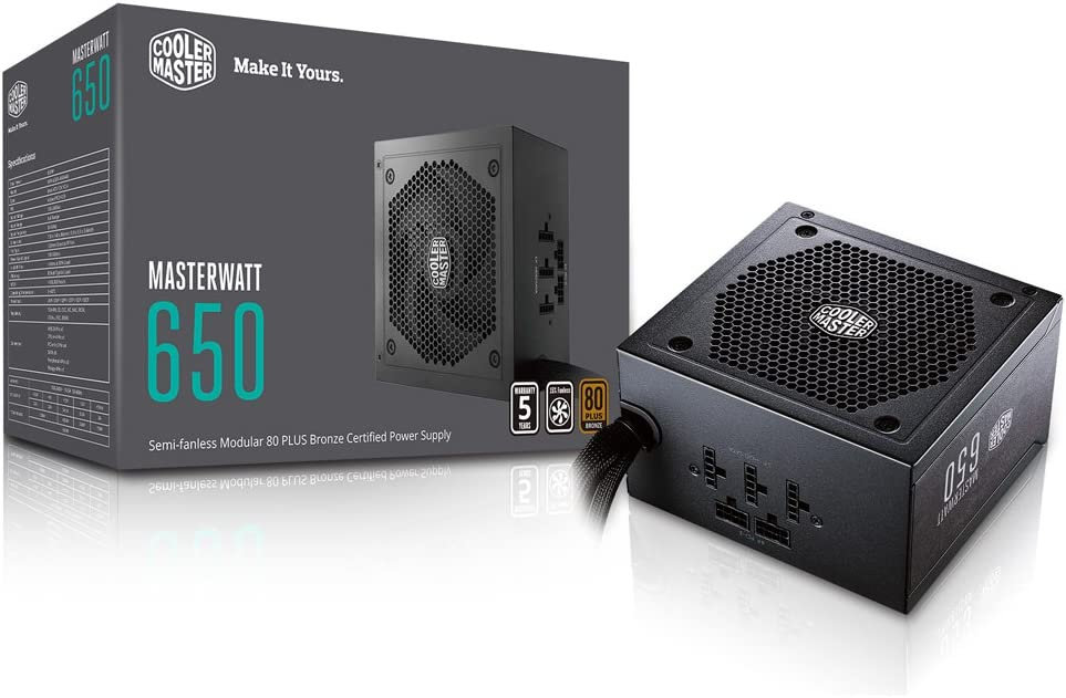 MasterWatt 650 Watt Semifanless Modular Power Supply, 80 PLUS Bronze Certified Power Supply for Computers