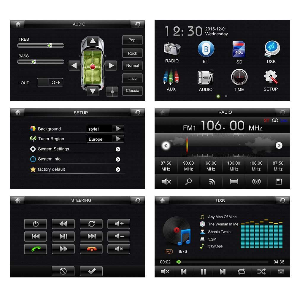 Entrada Auxiliar Elerose 7 inch Universal Reproductor de Radio de Coche MP5 AM puerto USB Soporte Bluetooth Ranura para Tarjeta TF FM MP5