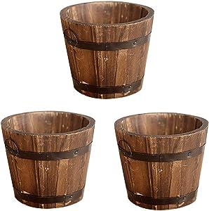 SNNplapla Indoor/Outdoor Small Wood Whisky Barrel Planter Gardeb Flower Vegetable Pots Round Top Set of 3-3.9inch (Diameter) x 4.7inch(Depth)