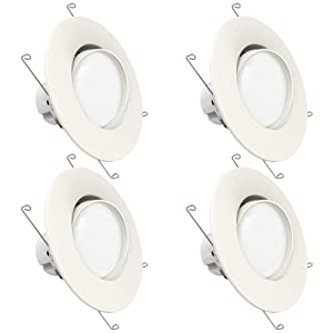 Sunco Lighting 4 Pack 5 Inch/6 Inch Gimbal LED Downlight, 12W=60W, 3000K Warm White, 800 LM, Dimmable, Adjustable Recessed Ceiling Fixture, Simple Retrofit Installation