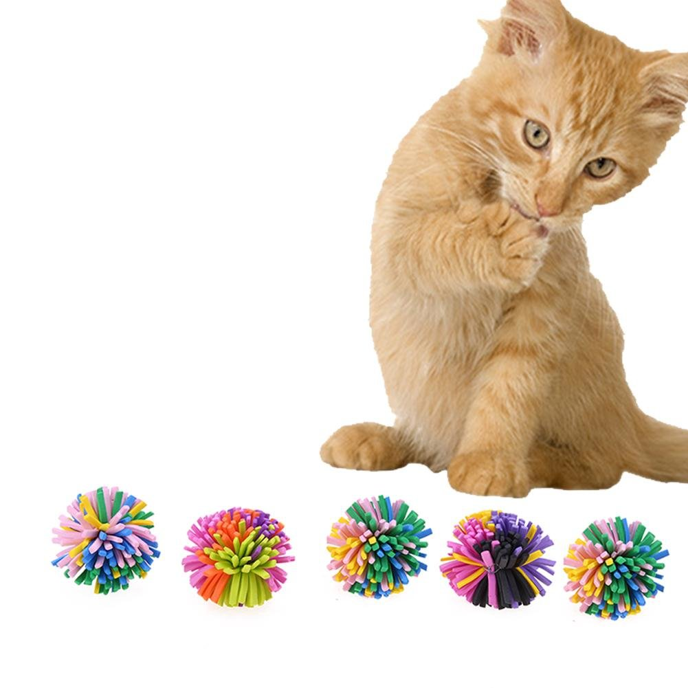Domybest 5pcs/Pack Plastic Playing Colorful Pet Cat Interactive Chew Chase Toy Balls well-wreapped