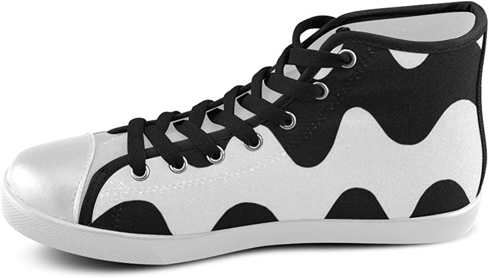 Black and White Wave Mens Classic High Top Canvas Shoes Model 002