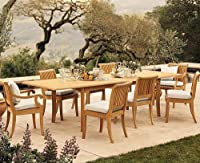 """9 Pc Luxurious Grade-A Teak Dining Set - 117"""" Double Extension Rectangle Table & 8 Giva Chairs (6 Armless & 2 Arm / Captain) by WholesaleTeak"""